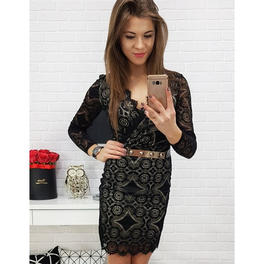 bff8cd5939 Dstreet sukienka mini z dekoltem v czarna biznesowa z długimi rękawami  dopasowana ...
