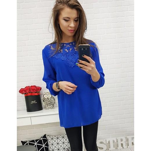 f1b7604ac3953d Bluzka damska Dstreet z długim rękawem niebieska z haftami w Domodi