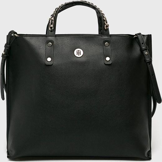 6c78f1f5a29ff Shopper bag Tommy Hilfiger ze skóry ekologicznej bez dodatków w Domodi