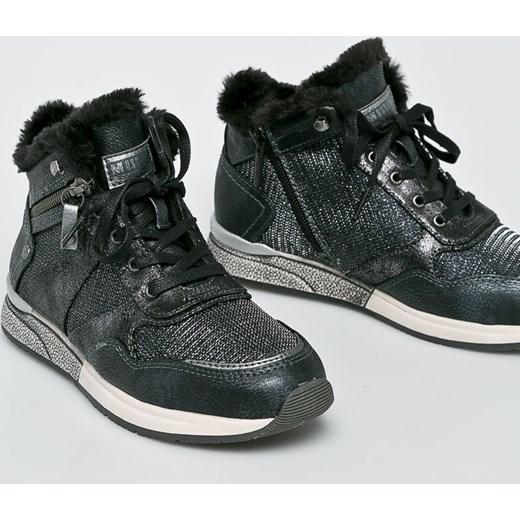 8b29a56a Sneakersy damskie Mustang na koturnie bez wzorów1 sznurowane w Domodi