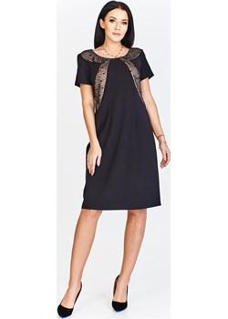 Sukienka FSU322 CZARNY BEŻOWY fokus-fashion szary bez wzorów/nadruków - kod rabatowy