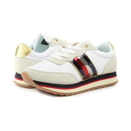 ae8bc002deb2e Sneakersy damskie Tommy Hilfiger gładkie młodzieżowe na platformie wiązane