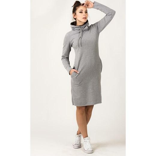 5fab24275c Sukienka bez wzorów midi na uczelnię z długimi rękawami bawełniana sportowa