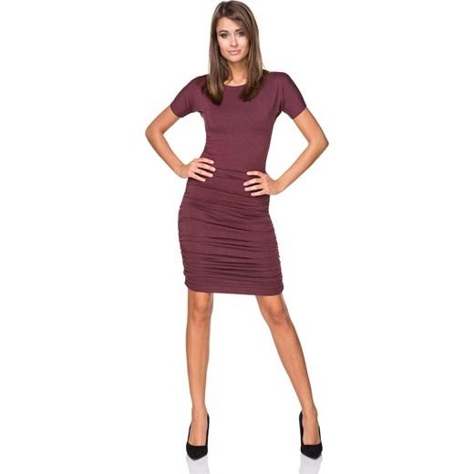 ea59b20bf2 Sukienka czerwona z elastanu na spotkanie biznesowe z okrągłym dekoltem  gładka elegancka