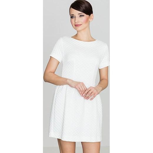 f8ed3eadc7 Sukienka biała z okrągłym dekoltem z krótkim rękawem mini w Domodi
