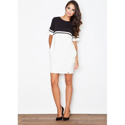 3b344ac1 Sukienka z okrągłym dekoltem na co dzień casual mini biała z elastanu