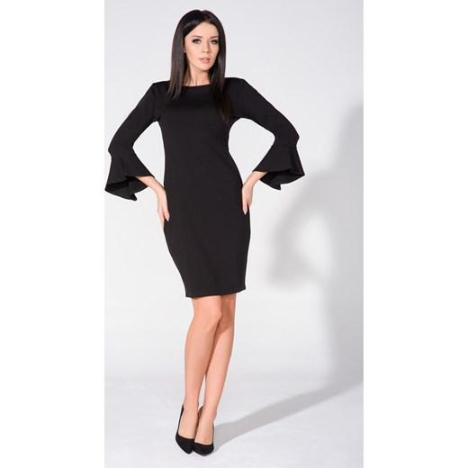 e13e7d836a Sukienka czarna elegancka do pracy z długim rękawem midi w Domodi