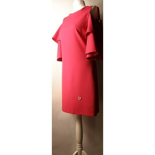 piękny Uplander sukienka na randkę czerwona trapezowa z