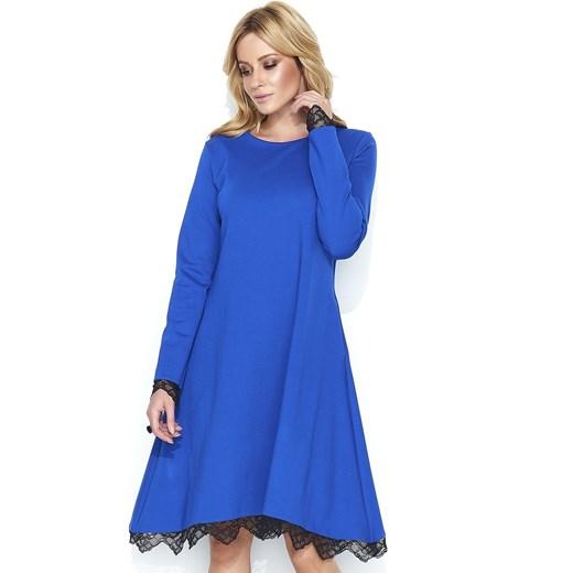 8a2f4374de Sukienka Nunu elegancka koronkowa z długim rękawem oversize wiosenna midi
