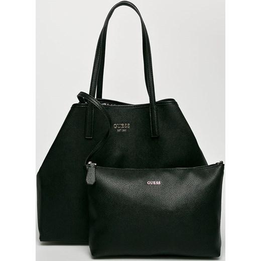 55dcf7e73a0a5 Shopper bag Guess Jeans średniej wielkości czarna bez dodatków w Domodi