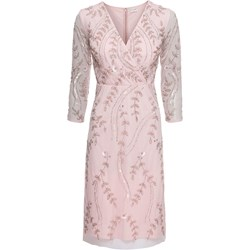 26fae3b59f Sukienka BODYFLIRT z aplikacjami różowa z długim rękawem midi balowe