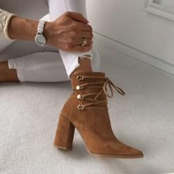 dba722707b3fa Botki brązowe Miss Sophia Shoes na obcasie skórzane sznurowane gładkie