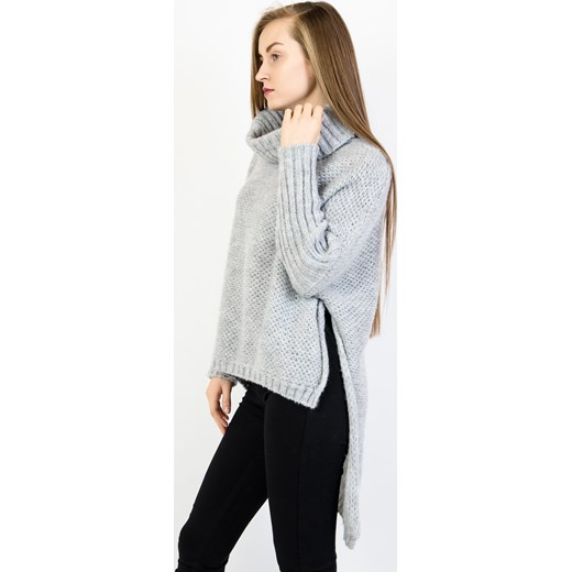 002c2fe0dc ... Asymetryczny szary sweter oversize z golfem Olika uniwersalny olika.com.pl  ...