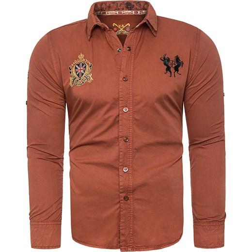 ce29cdaa0d5a Koszula męska xh2205 - rudy Risardi w Domodi