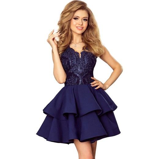 dae68417 Sukienka Numoco z koronką niebieska bez rękawów na studniówkę mini  rozkloszowana