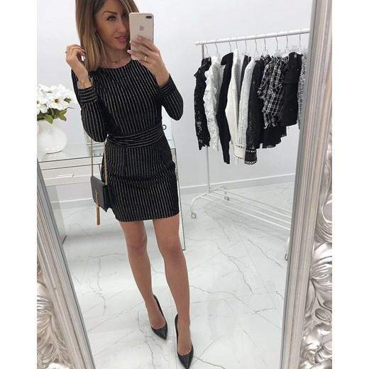 1145f0263d ... Sukienka czarna z długimi rękawami mini z okrągłym dekoltem do pracy ...