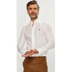 ca282d049 Koszula męska Polo Ralph Lauren biała tkaninowa z kołnierzykiem button down  z długimi rękawami