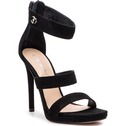 Sandały damskie Eva Minge na wysokim obcasie eleganckie zamszowe na szpilce Buty Damskie JF czarny Sandały damskie UFQN