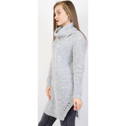9a0ee7ff80 ... Szary asymetryczny sweter z golfem Olika uniwersalny olika.com.pl ...
