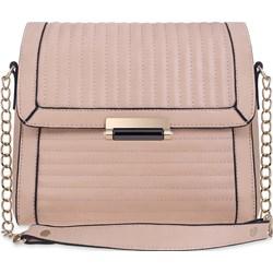 894bd5d0b7699 Pikowany kuferek wizytowa torebka damska na łańcuszku chanelka z klapą na  ramię - pudrowy róż world-style.pl