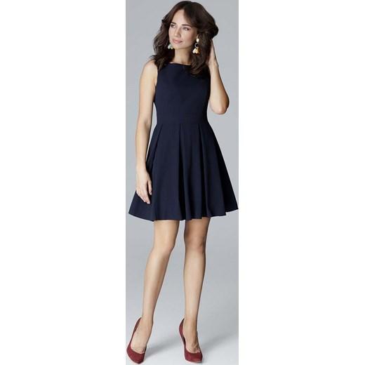 7dd95fcf31 Niebieska sukienka Katrus rozkloszowana mini na sylwestra bez rękawów