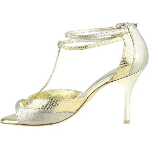 f8156ade Sandały damskie srebrne Elante na średnim obcasie bez wzorów na szpilce  skórzane z klamrą