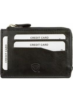 Mały skórzany portfel na karty zamykany na zamek (Czarny) Koruma Id Protection szary  - kod rabatowy