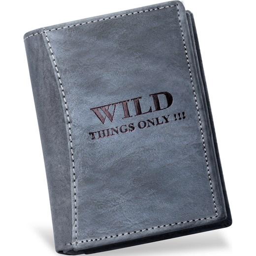 82868b17c89ee1 MĘSKI PORTFEL WILD THINGS ONLY! - SKÓRA NATURALNA world-style-pl niebieski  mini w Domodi