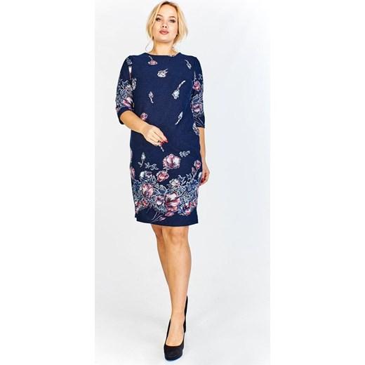 6a3d93b6b3 Sukienka Fokus z długim rękawem midi w kwiaty dla puszystych w Domodi