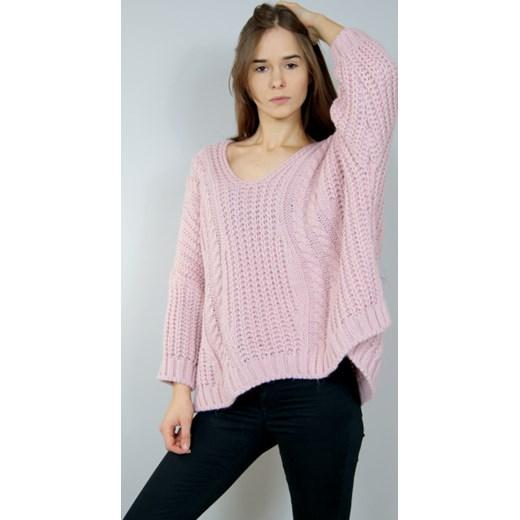 1766722b4cc42a ... Sweter damski z dekoltem w literę v różowy casualowy ...