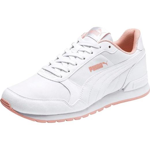 1b16fa73 Buty sportowe damskie Puma dla biegaczy młodzieżowe białe na koturnie  sznurowane skórzane ...