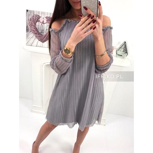 1991870d15 New style zwiewna plisowana sukienka z odkrytymi ramionami grey Ifriko.pl  uniwersalny ...