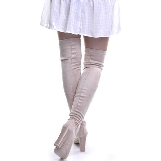Kozaki damskie Calzado eleganckie na słupku z zamszu za kolano