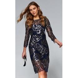 6136166004 Top Secret sukienka prosta midi z okrągłym dekoltem balowe z długim rękawem