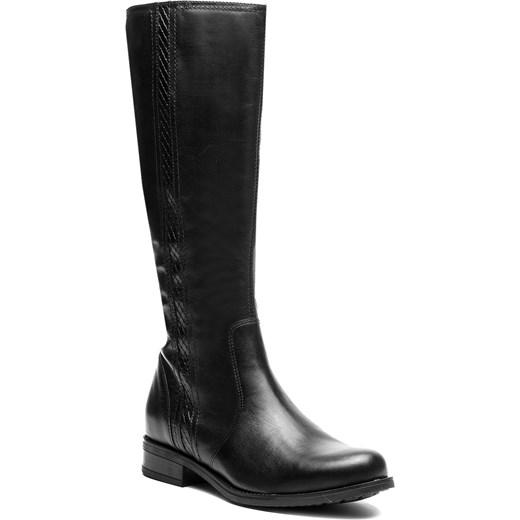 eee96eaf7c462 Lasocki kozaki damskie czarne bez wzorów z tworzywa sztucznego z cholewką  przed kolano płaskie