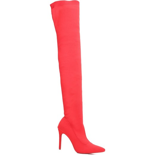 7196f85b7bc3c Renee kozaki damskie czerwone · Kozaki damskie Renee bez zapięcia bez  wzorów za kolano na szpilce ...