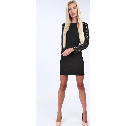 99d7393295 Sukienka Fasardi z długim rękawem dopasowana gładka na sylwestra w ...