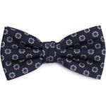 d936e97c03aa6 Granatowa mucha męska Profuomo w błękitne kwiaty eleganckipan-com-pl czarny  abstrakcyjne wzory