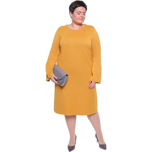 de072c1409f Sukienka midi z elastanu z okrągłym dekoltem dla puszystych z długim rękawem