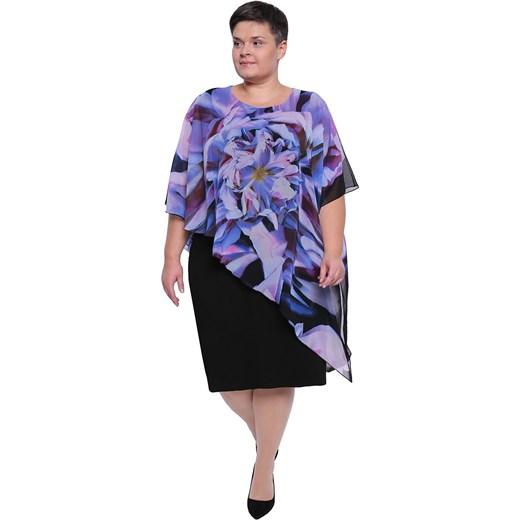 38c75fd76f Czarna sukienka z narzutką w fioletowe kwiaty 58 Modne Duże Rozmiary ...