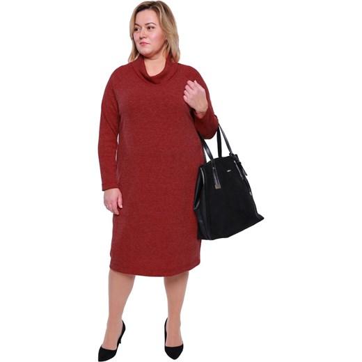 2902a890865 Sukienka z elastanu midi czerwona dla puszystych z golfem z długim rękawem