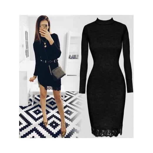 4d91501e68 Pakuten sukienka czarna dopasowana elegancka z długim rękawem na sylwestra  mini z okrągłym dekoltem ...