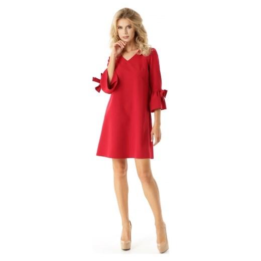 0bb0bc6b89 Sukienka Ella Dora różowa z długim rękawem mini na randkę bez wzorów ...