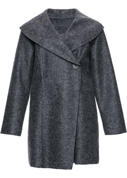 Cienki ciemnoszary płaszcz z wełny   Modne Duże Rozmiary - kod rabatowy