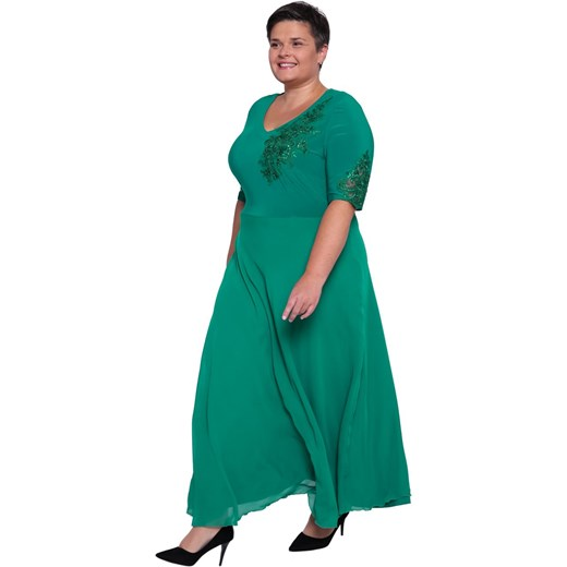 44a360221e Sukienka maxi  Sukienka na bal maxi wiosenna z krótkim rękawem ...