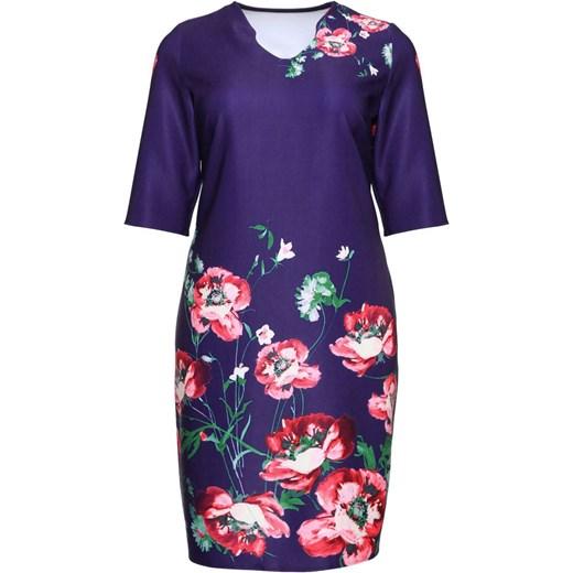 c6b7ed9ab3 ... Chabrowa sukienka ozdobiona kwiatami 60 Modne Duże Rozmiary ...