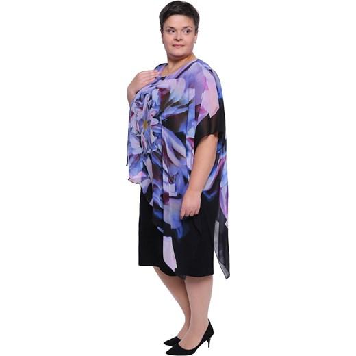 7e3c5ad31a ... Czarna sukienka z narzutką w fioletowe kwiaty 60 Modne Duże Rozmiary ...