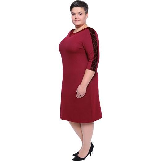 ffdb181d466 ... elastanu czerwona midi; Sukienka dla puszystych z okrągłym dekoltem ...