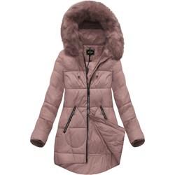 9a96b3236673 Kurtka damska Libland różowa zimowa długa z kapturem