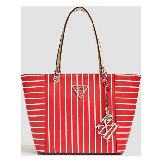 6699e8174a31e Shopper bag Guess na ramię poliestrowa duża z nadrukiem wakacyjna bez  dodatków
